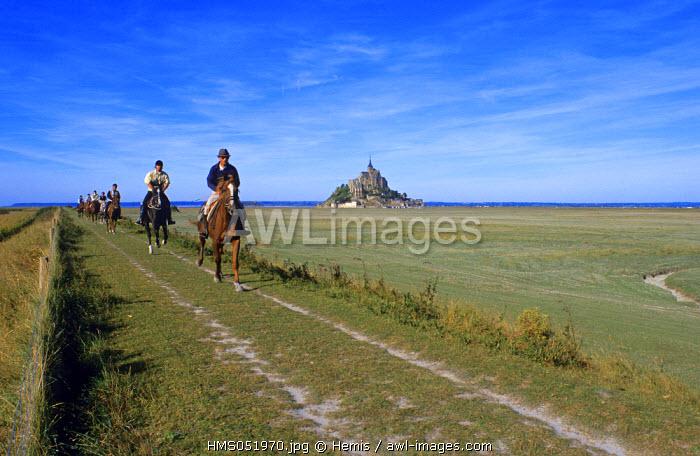 France, Manche, Horseback Ride in Mont Saint Michel Bay