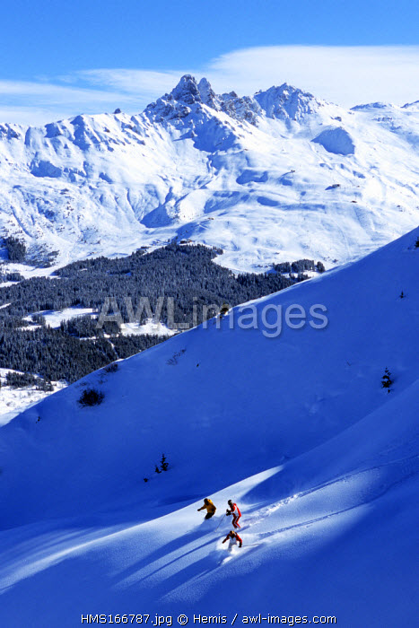 France, Savoie, Off Piste Skiing