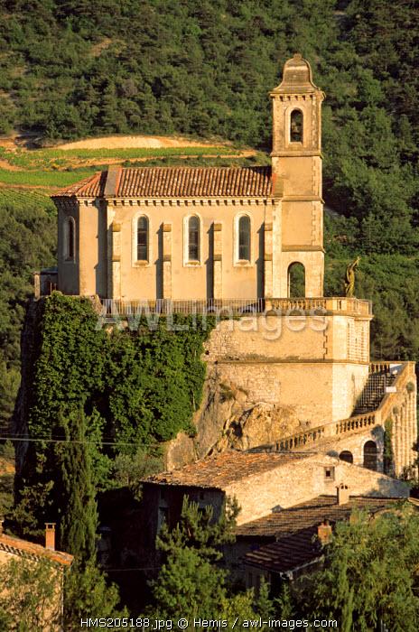 France, Drome, Drome Provencale, Pierrelongue, percherd church in Les Baronnies