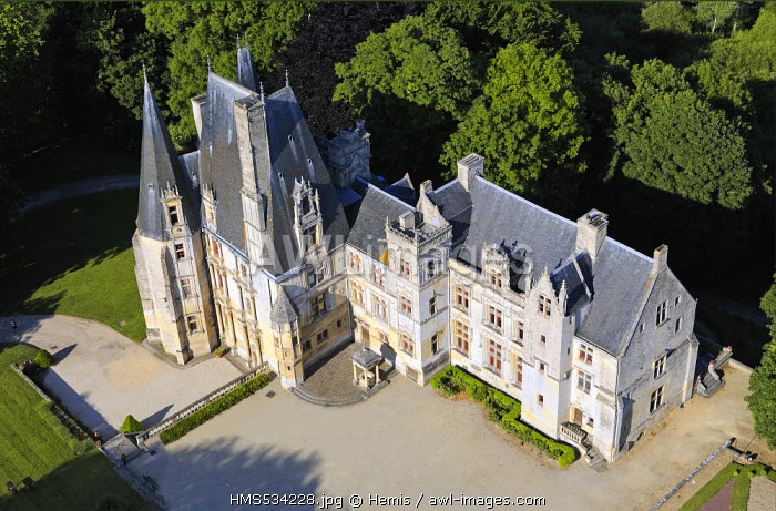 France, Calvados, Chateau de Fontaine Henry (aerial view)