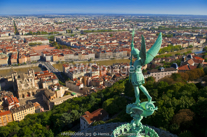 France, Rhone, Lyon, historical site listed as World Heritage by UNESCO, the view from Notre-Dame-de-Fourviere church of St Jean and Place Bellecour