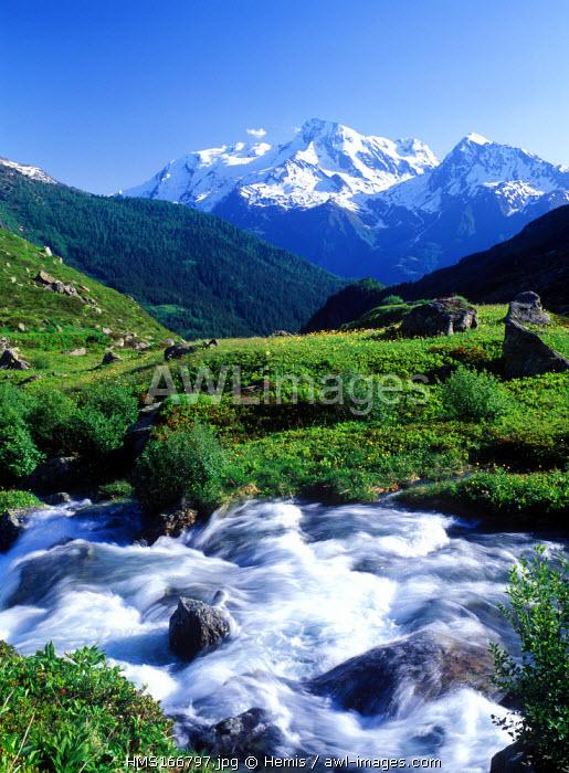 France, Savoie, Mont Pourri from La Sassiere Village