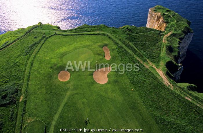 France, Seine Maritime, Pays de Caux, Cote d'Albatre, Etretat, Aval Cliffs and the golf (Aerial View)