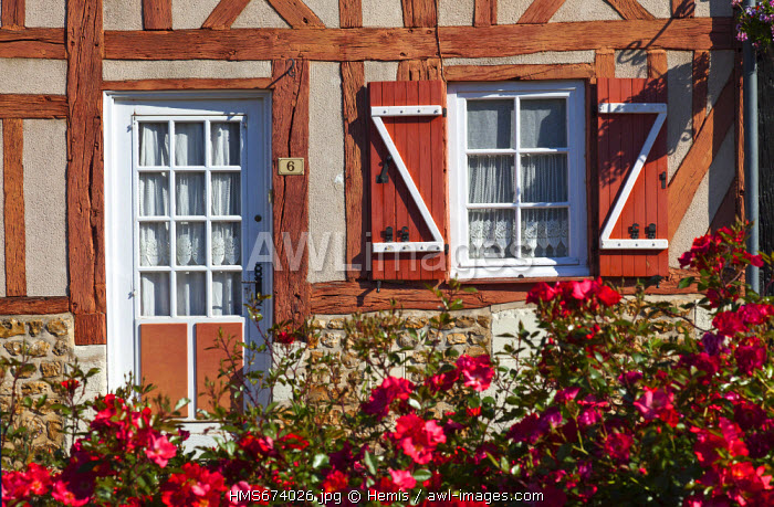 France, Eure, Le Bec Hellouin, labelled Les Plus Beaux Villages de France (The Most Beautiful Villages of France), Place de l'Abbe Herluin, normand timbered house