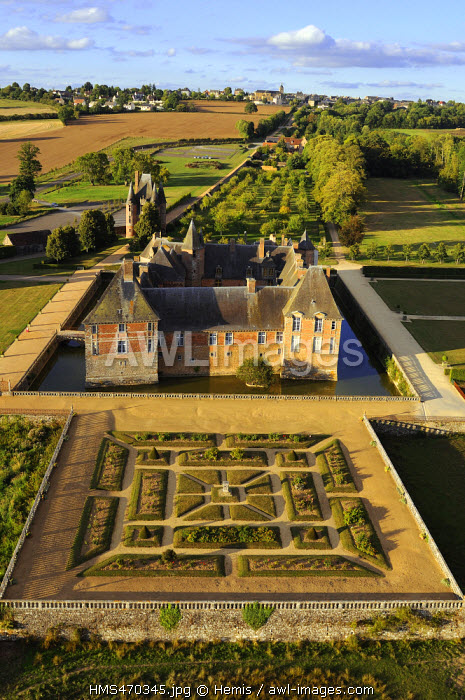 France, Orne, Normandie Maine Natural Regional Park, the castle of Carrouges (aerial view)