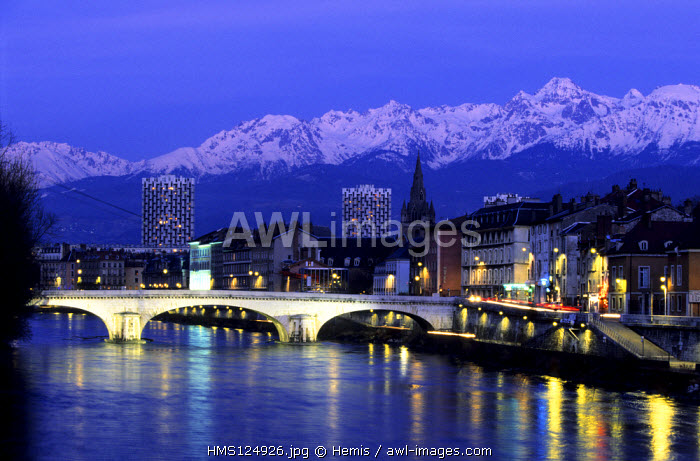 France, Isere, Grenoble, Quays of the Isere River and the Belledonne Massif
