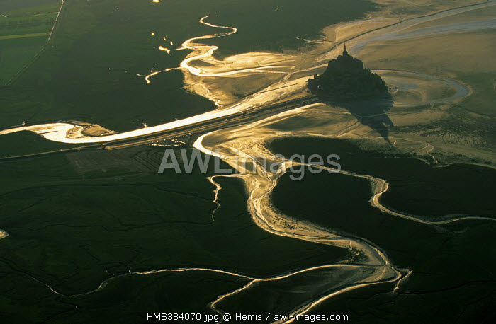 France, Manche, Mont St Michel, listed as World Heritage by UNESCO (aerial view)