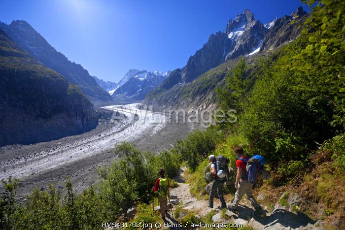 France, Haute Savoie, Chamonix Mont Blanc, the Mer de Glace since Montenvers