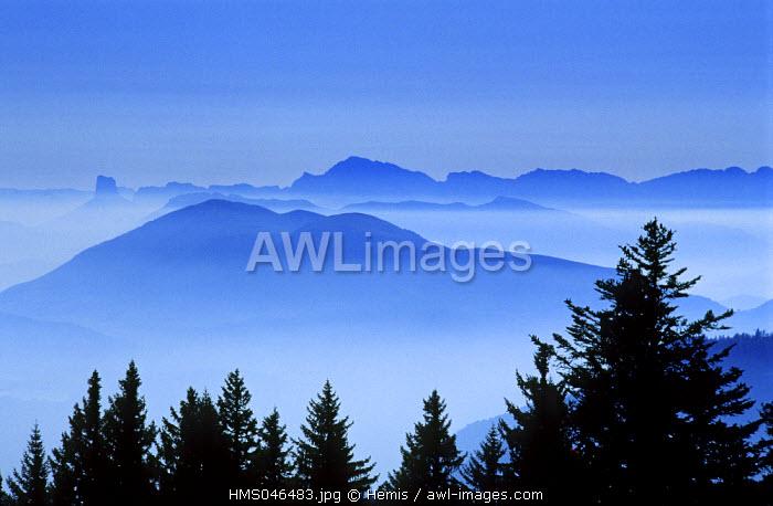 France, Isere, fog over the Vercors massif