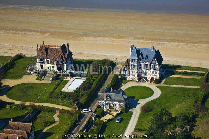 France, Calvados, Pays d'Auge, Cabourg, Le Home (aerial view)
