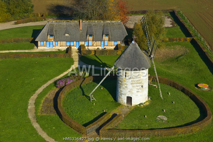 France, Eure, Hauville windmill (aerial view)