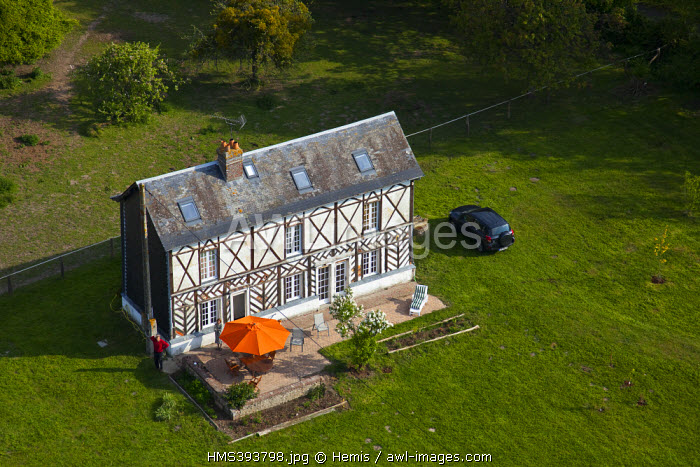 France, Eure, Fatouville Grestain, House Norman (aerial view)