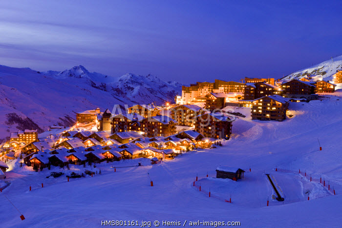 France, Savoie, Les Menuires ski resort in the Three Valleys, Des Bellevilles valley, the district Reberty