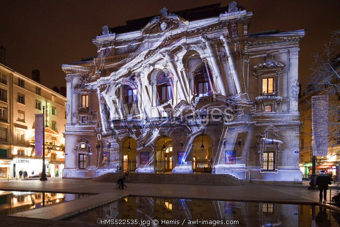 France, Rhone, Lyon, historical site listed as World Heritage by UNESCO, Presqu'ile, the Fete des Lumieres (Light Festival), interactive animation proposed by 1024 architecture on the facade of the Theatre des Celestins
