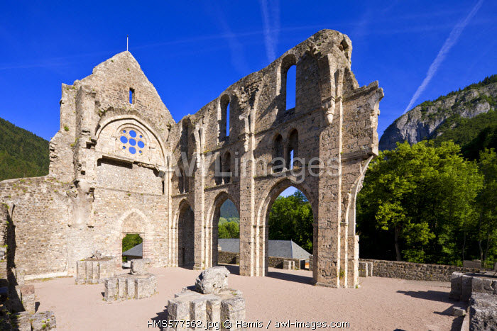 France, Haute Savoie, Chablais, Saint Jean d'Aulps, ruins of the Abbaye d'Aulps in the Dranse de Morzine