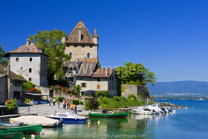 France, Haute Savoie, Yvoire, Leman Lake, labelled Les Plus Beaux Villages de France (the Most Beautiful Villages of France), the marina and the Castle of the 14th century