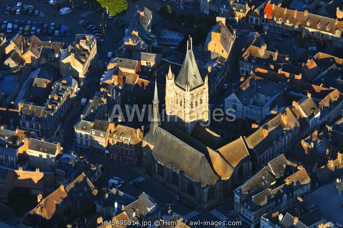 France, Orne, Pays d'Ouche, L'Aigle, Saint Martin church (aerial view)