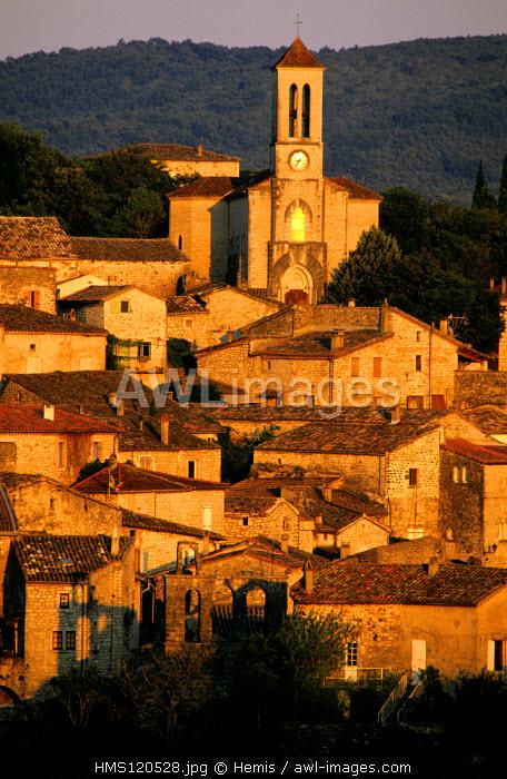 France, Ardeche, Balazuc village, labelled Les Plus Beaux Villages de France (The Most Beautiful Villages of France), along the Ardeche river defiles