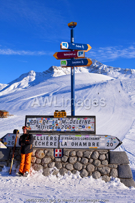 France, Savoie, Valmorel, Massif de la Vanoise, Tarentaise valley, St Fran�ois Longchamp, Maurienne valley, signs for road summer and winter skiing at the Col de la Madeleine overlooking on the Cheval Noir 2832m