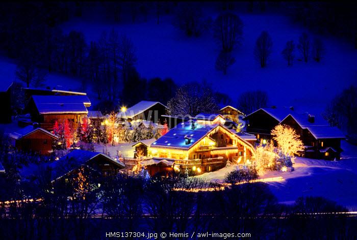 France, Savoie, Meribel ski resort, Christmas decorations
