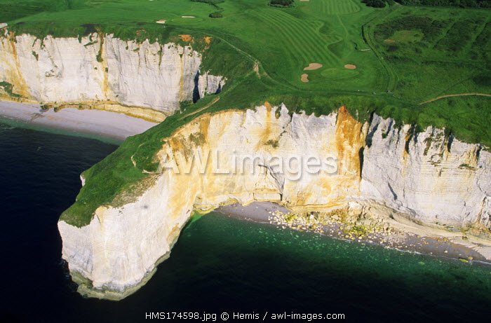 France, Seine Maritime, Pays de Caux, Cote d'Albatre, Etretat, Aval cliffs and the gulf (aerial view)