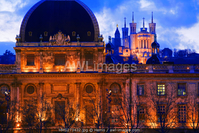 France, Rhone, Lyon, historical site listed as World Heritage by UNESCO, Hotel Dieu and Notre Dame de Fourviere's Basilica built between 1872 and 1884, neo Byzantine architecture by Pierre Bossan