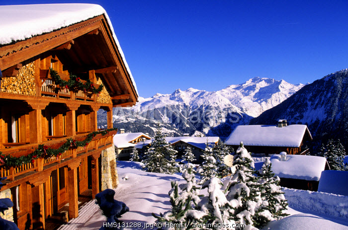 France, Savoie, Courchevel 1850 ski resort, Trois Vallees skiing area