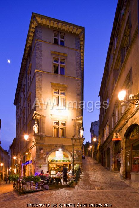 France, Rhone, Lyon, historical site listed as World Heritage by UNESCO, Place de la Trinite, the Maison du Soleil Mansion house