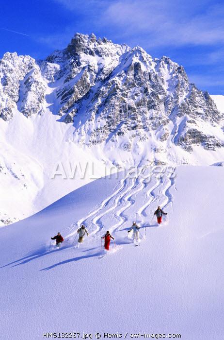 France, Savoie, Meribel, skiing at the bottom of Aiguille du Fruit