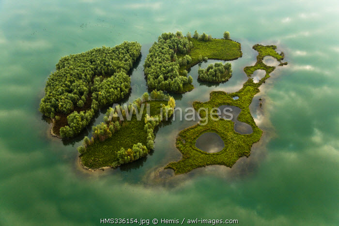 France, Seine Maritime, Jumieges Marshland, island in a sand quarry of Seine Valley (aerial view)