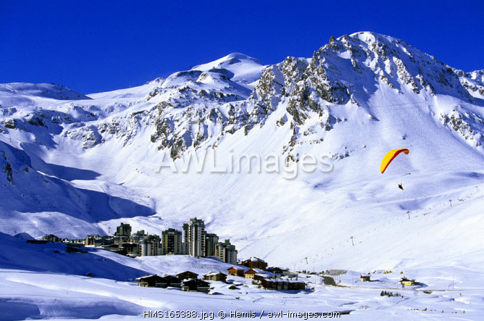 France, Savoie, Tignes ski resort and the Grande Motte mountain