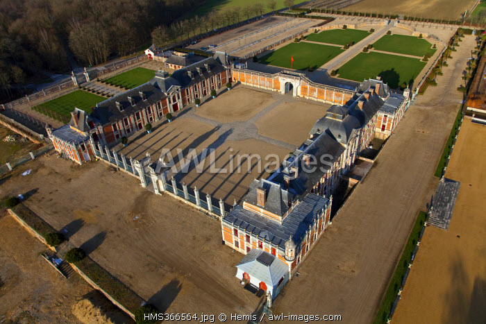 France, Eure, Le Neubourg, castle of Champ de Bataille, castle of the 17th century renovated by decorator Jacques Garcia (aerial view)
