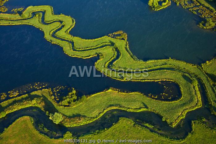 France, Seine-Maritime, Saint-Aubin-le-Cauf, etangs de la Bethune et de la Varenne (ponds of Bethune and la Varenne) (aerial view)