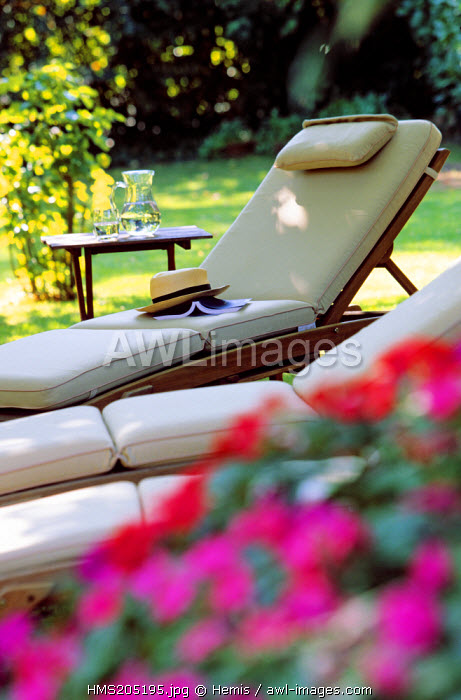 France, Drome, Pont de l'Isere, Michel Chabran Hotel and Restaurant, garden