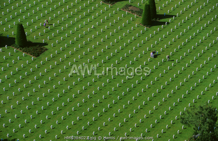 France, Calvados, Colleville sur Mer, Omaha Beach, landing, American cemetery (aerial view)