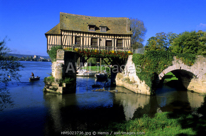 France, Eure, Vernon, Old Mill on an ancient Bridge on the Seine River