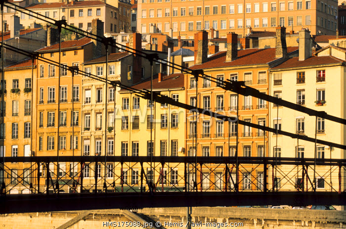 France, Rhone, Lyon, Saone River, Quai Saint Vincent, Saint Vincent Footbridge
