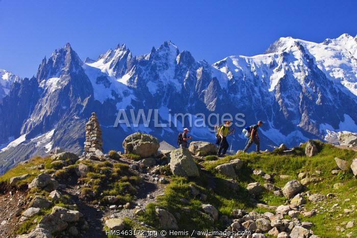 France, Haute Savoie, Chamonix Mont Blanc, cairn in reserve naturelle des Aiguilles rouges (Aiguilles Rouges National Nature Reserve) with a view of Aiguilles de Chamonix