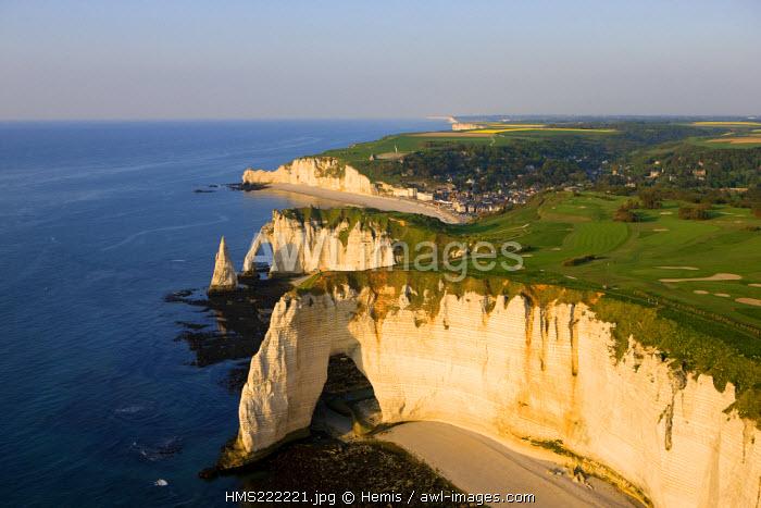 France, Seine Maritime, Pays de Caux, Cote d'Albatre, Etretat, the Aval Cliff and the Aiguille Creuse (aerial view)