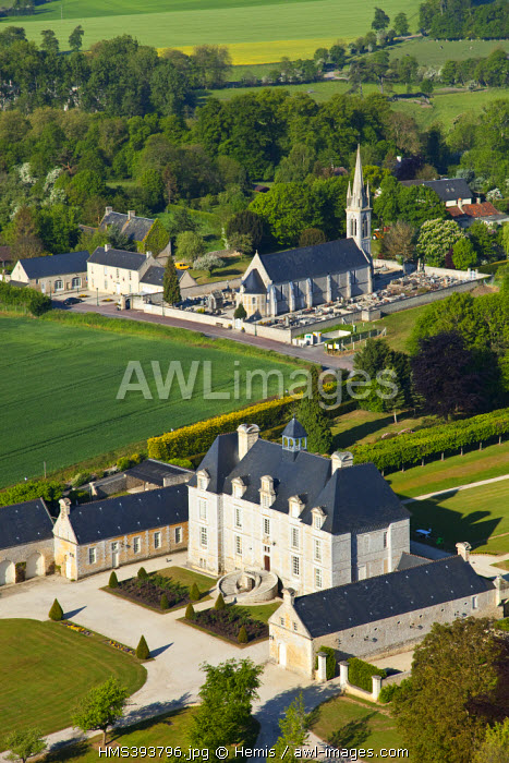 France, Calvados, Castle of Esquay sur Seulles (aerial view)