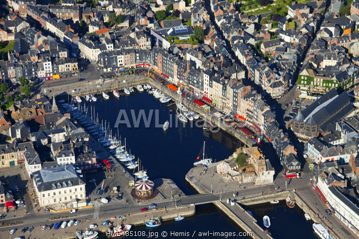 France, Calvados, Honfleur and its picturesque Old Harbour (aerial view)