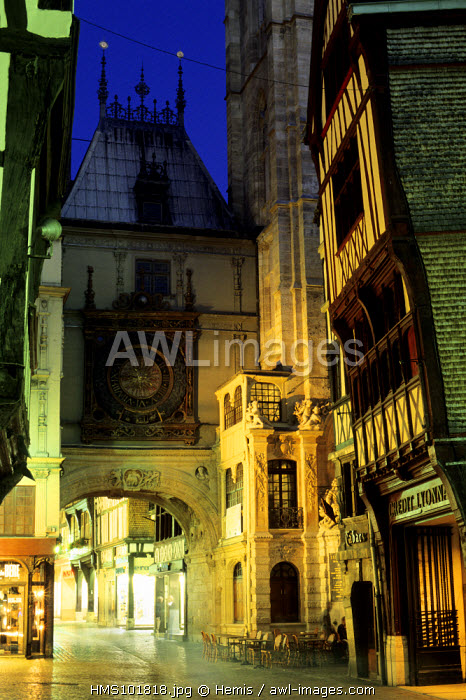 France, Seine Maritime, Rouen, Gros Horloge street in the historical center