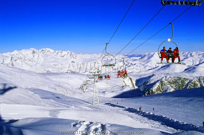France, Isere, Les Deux Alpes ski resort, ski area of Roche Mantel (alt:3200 m)