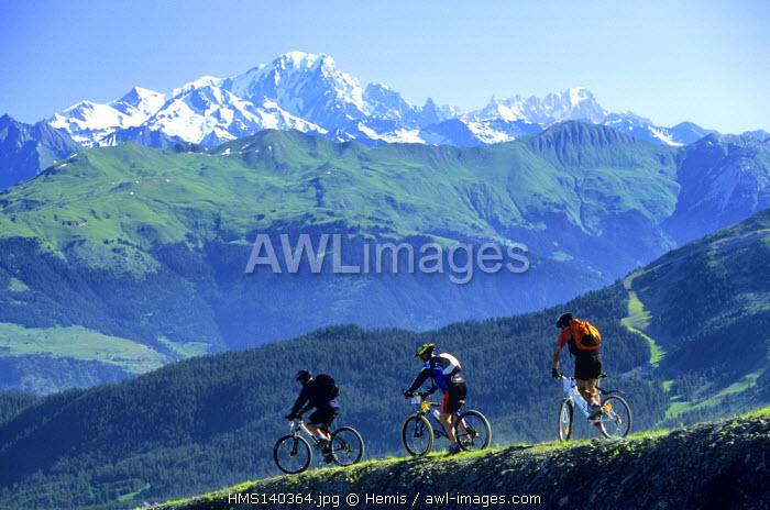 France, Savoie, Meribel, Mont Blanc from Tougnete Mountain