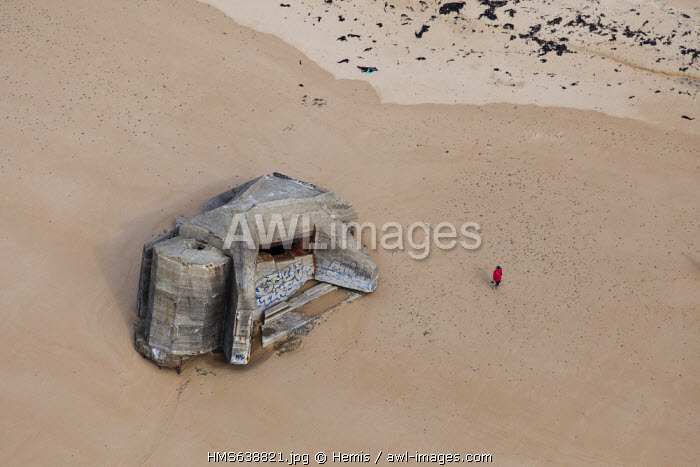 France, Manche, Biville, bunkers on the beach (aerial view)