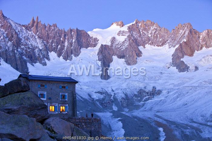 France, Haute Savoie, Chamonix Mont Blanc, with a vue of glacier de Tal�fre, the Jardin de Tal�fre, Les Droites and Les Courtes