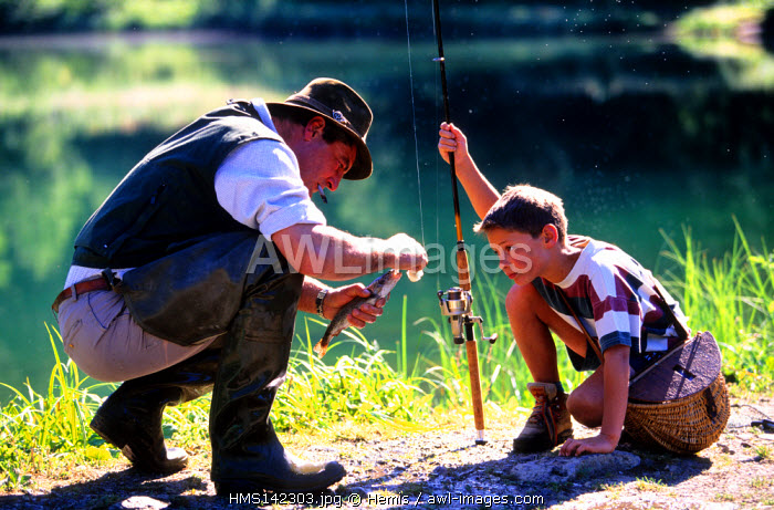 France, Haute Savoie, Morzine, Lake Mines d'Or, trout fishing