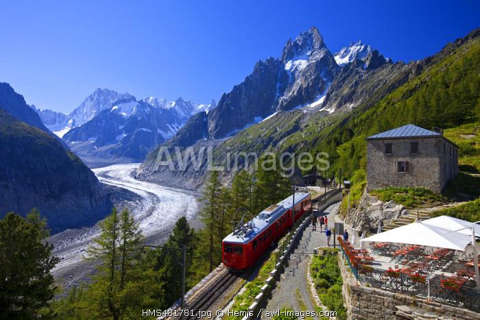 France, Haute Savoie, Chamonix Mont Blanc, the Mer de Glace since Montenvers and the tourist train of Montenvers
