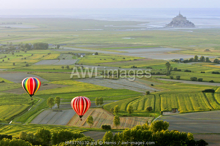 France, Manche, Bay of Mont Saint Michel, listed as World Heritage by UNESCO, hot air balloon flight (aerial view)