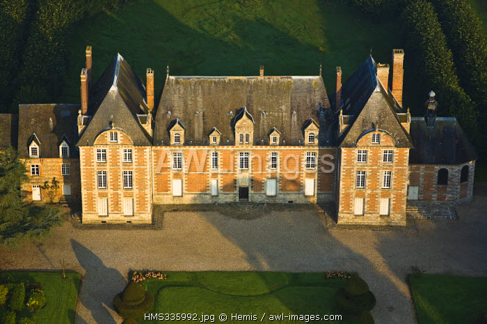 France, Seine-Maritime, Angiens, Silleron Castle (aerial view)